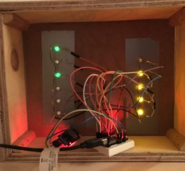 Binary clock prototype from behind